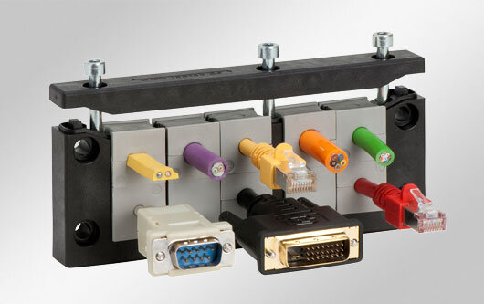 Grommet based cable entry for standard cut-outs of heavy industrial connectors. Available as single or double row version.