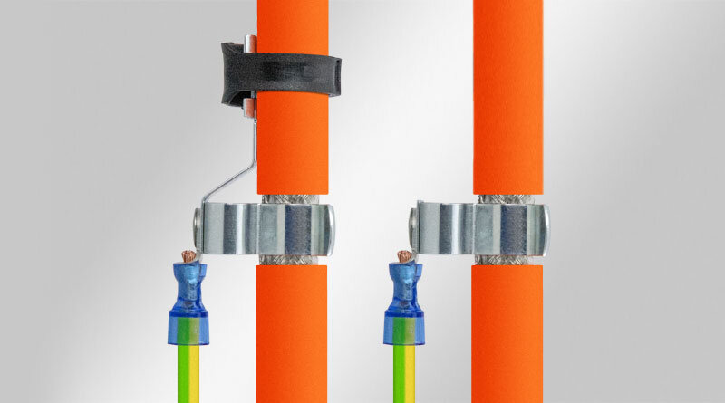EMC shield clamps on cable lugs
